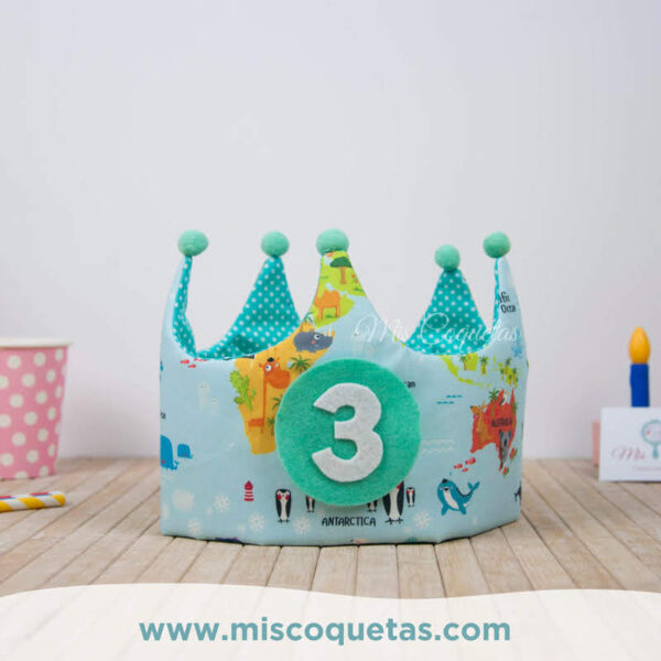 Corona de cumpleaños Mapamundi animales Mis Coquetas