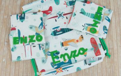 Mochila portabocadillos y mantel para Enzo
