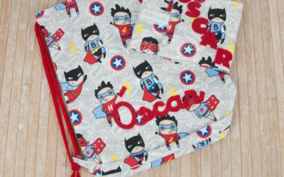 Portabocadillo y mochila saco personalizada para Óscar