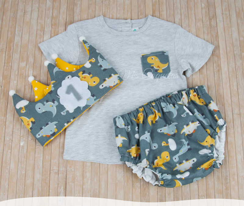 Conjunto corona de cumpleaños, culotte y camiseta personalizada
