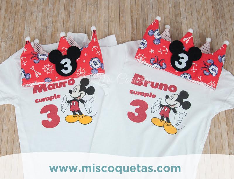 Corona de cumpleaños de Mickey y camisetas a conjunto