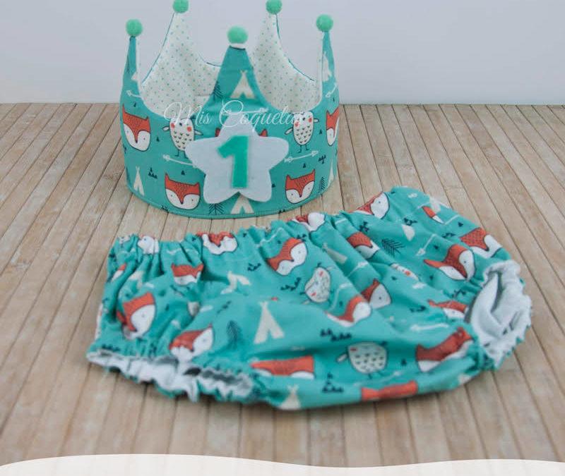 Conjunto Corona de cumpleaños y culotte personalizado