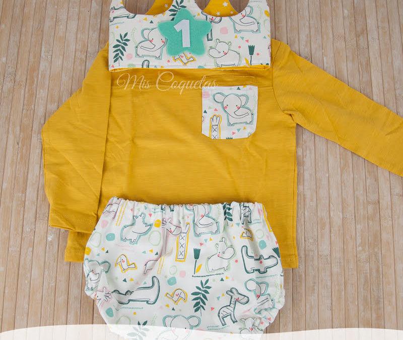 Corona de cumpleaños con camiseta y culotte personalizado