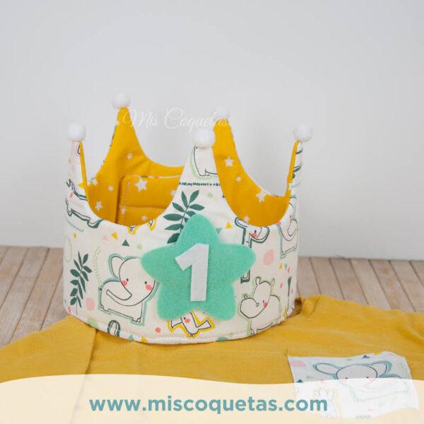 Corona de cumpleaños con camiseta personalizada y culotte personalizado Mis Coquetas